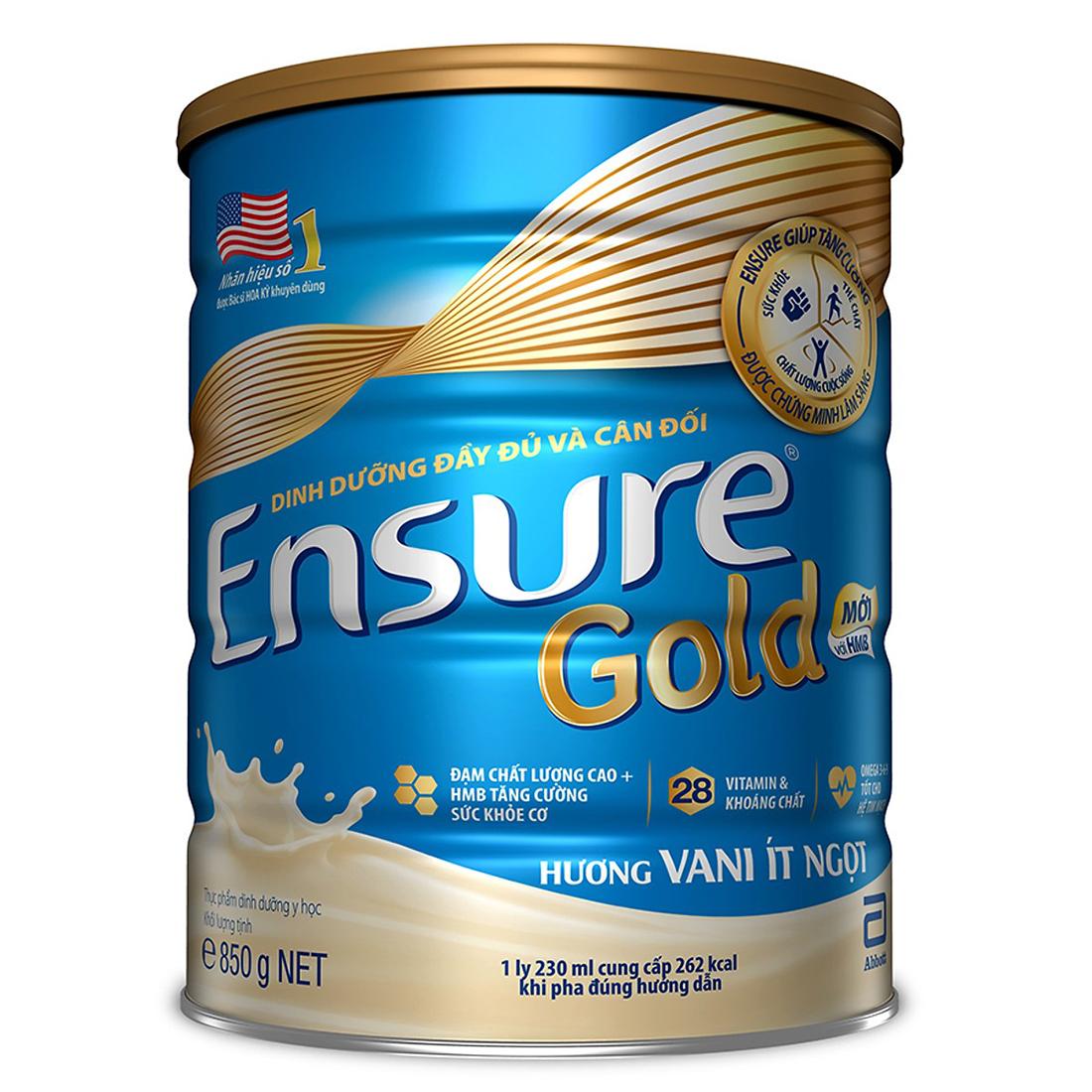 3 Hộp Sữa Bột Abbott Ensure Gold Hương Vani Ít Ngọt 850g