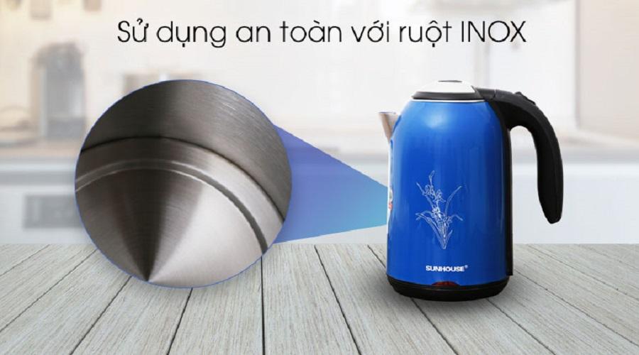 Bình Ấm Siêu Tốc Điện Inox 2 Lớp Sunhouse SHD1382 - Màu Ngẫu Nhiên - Chính Hãng