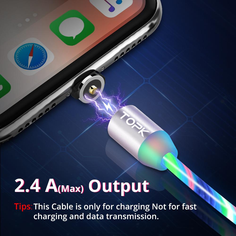Cáp điện thoại đèn LED phát sáng TOPK AM67 USB - 3IN1 - hàng chính hãng