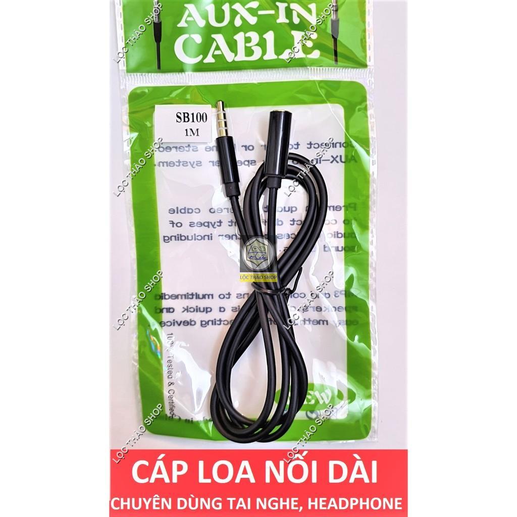 Cáp loa nối dài Jack 3.5 dài 1M 3M chuyên dùng cho điện thoại tai nghe headphone (đầu 4 nấc)