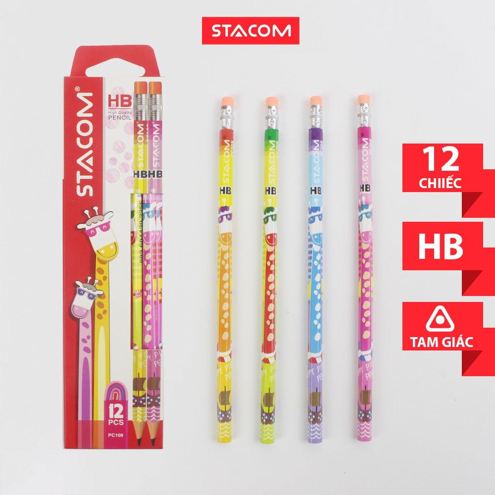 Hộp 12 cây Bút chì gỗ hình thú Stacom 2B/HB PC109