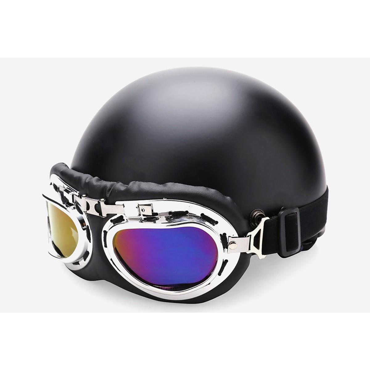 Combo mũ bảo hiểm phượt 1/2 đầu đen trơn + kính phi công màu ngẫu nhiên