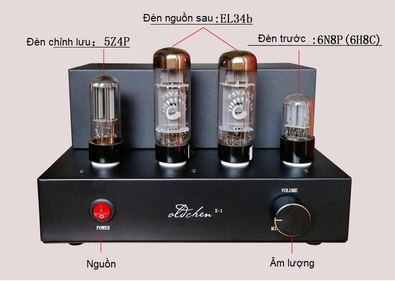 Ampli đèn EL34 X-1 hãng Oldchen công suất 8w/1 kênh chất âm mềm mại - chi tiết AnZ - Hàng Chính Hãng