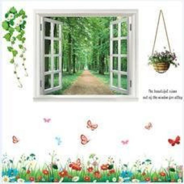 Decal Combo cửa sổ hoa bướm