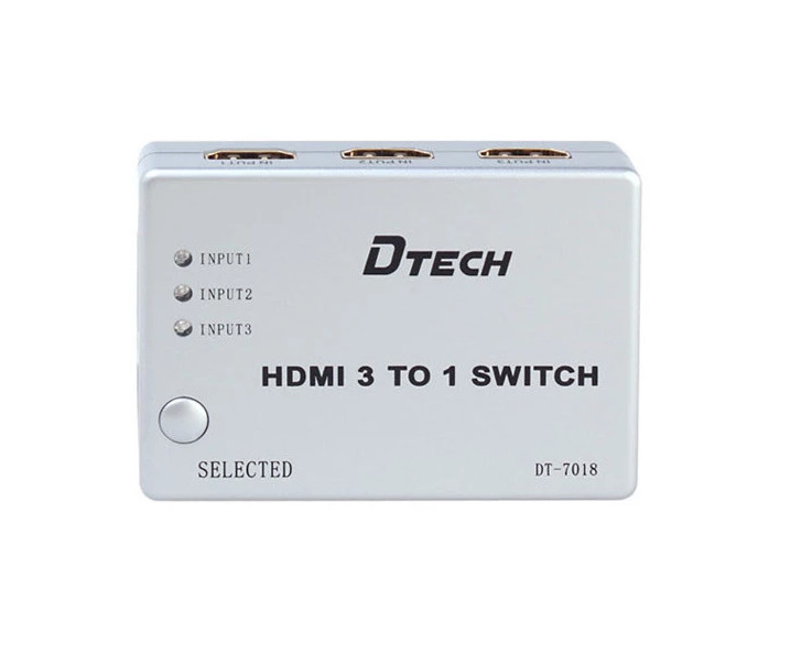 Bộ gộp HDMI 3 vào 1 ra (có Remote) Dtech DT-7018 chính hãng