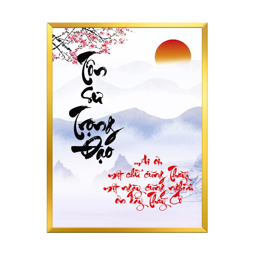 Tranh Treo Tường - Mẫu tranh in chữ Thư Pháp - Tôn Sư Trọng Đạo - TTSTD03 - Kích thước 30x40cm - Hàng Chính Hãng