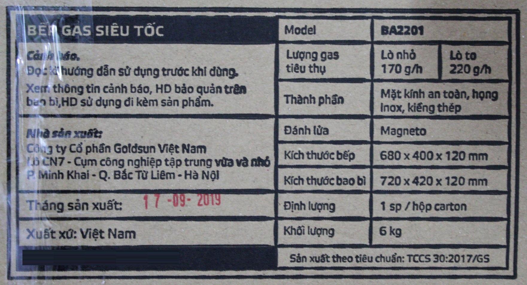 Bếp Gas Dương Đôi Siêu Tốc Mặt Kính Goldsun BA2201 - Chính Hãng