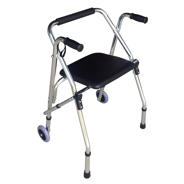 Khung tập đi LUCASS W9 - Có ghế ngồi bọc da cho người già, người khuyết tật - HÀNG CHÍNH HÃNG