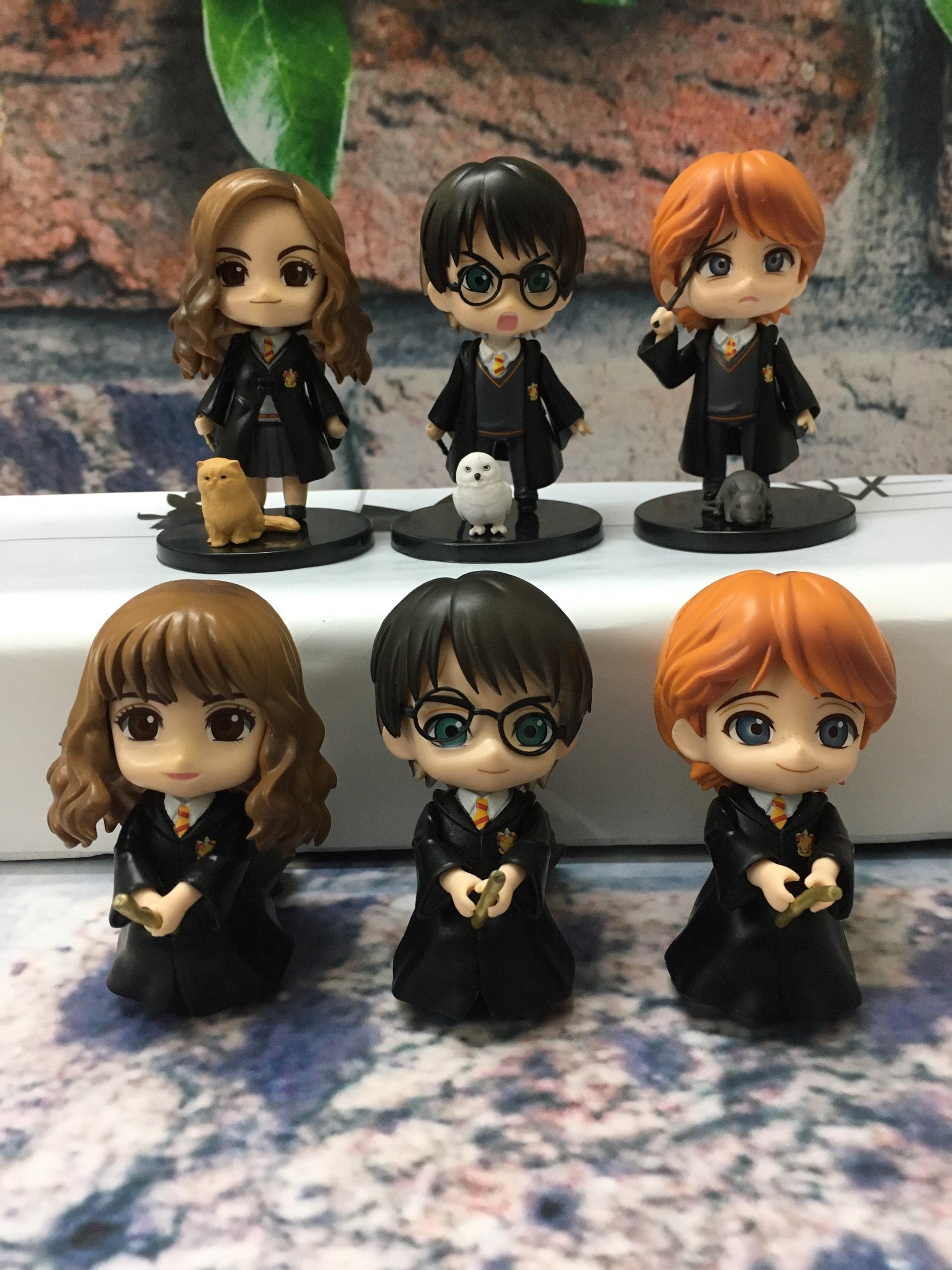 Bộ Sưu Tập Mô hình để bàn 6 nhân vật Harry Potter phong cách Chibi siêu đáng yêu, cao 9-10cm, cử động được khớp tay
