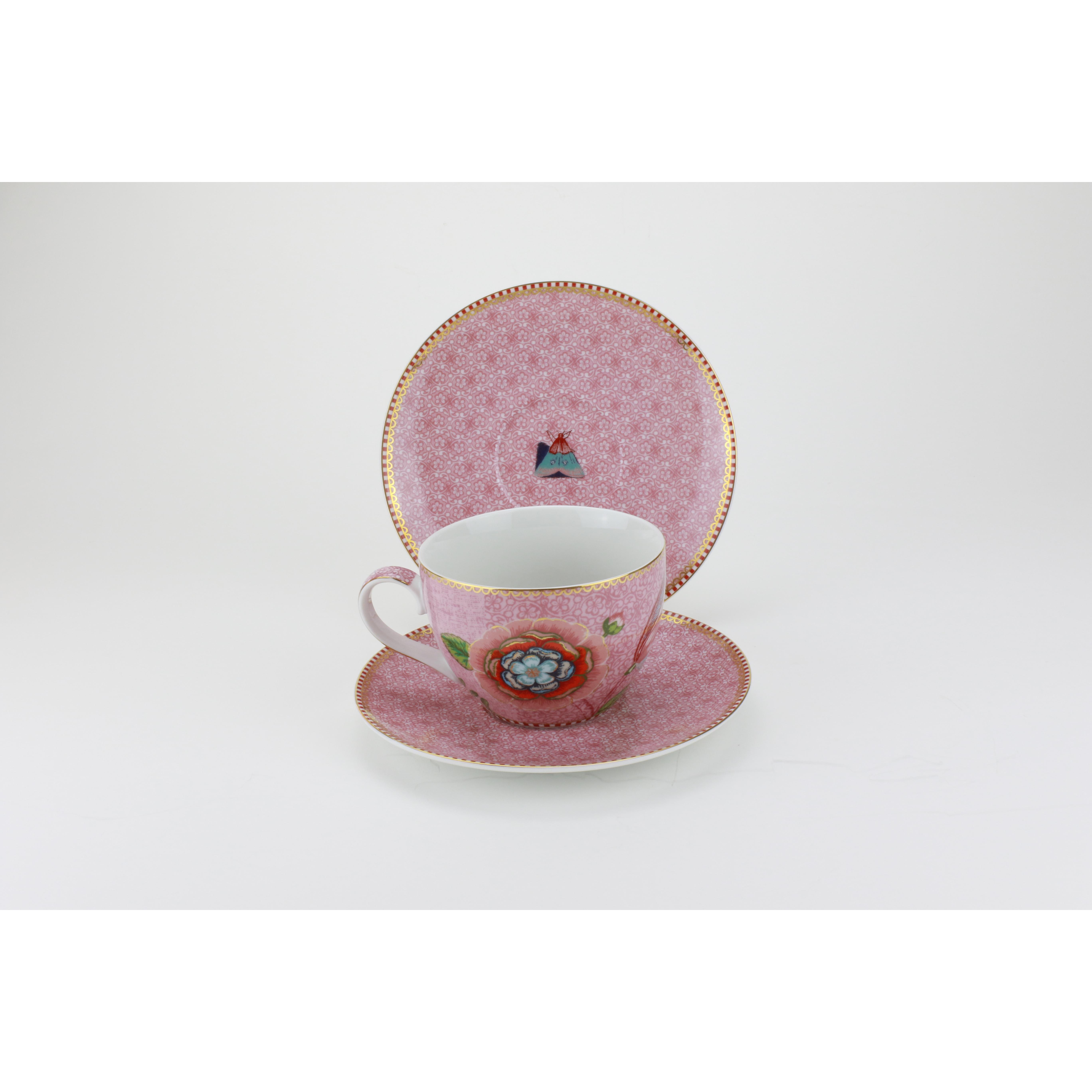 Tách uống trà hoa văn hồng
