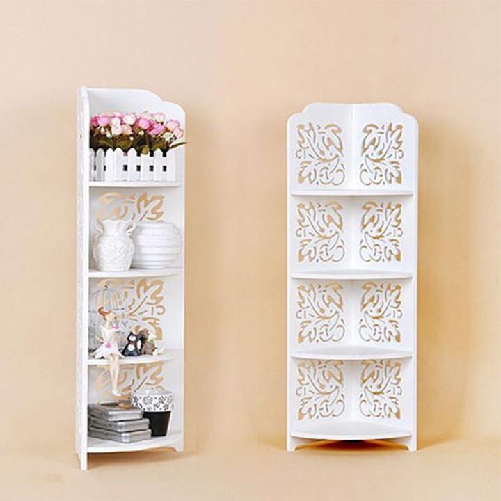 Kệ trang trí góc 4 tầng hoa văn bằng gỗ tặng kèm móc dán trong suôt đa năng