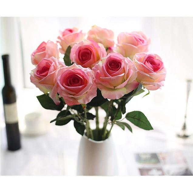 Combo 10 bông Hoa Hồng nhung bông Hoa lụa cao cấp (51cm)