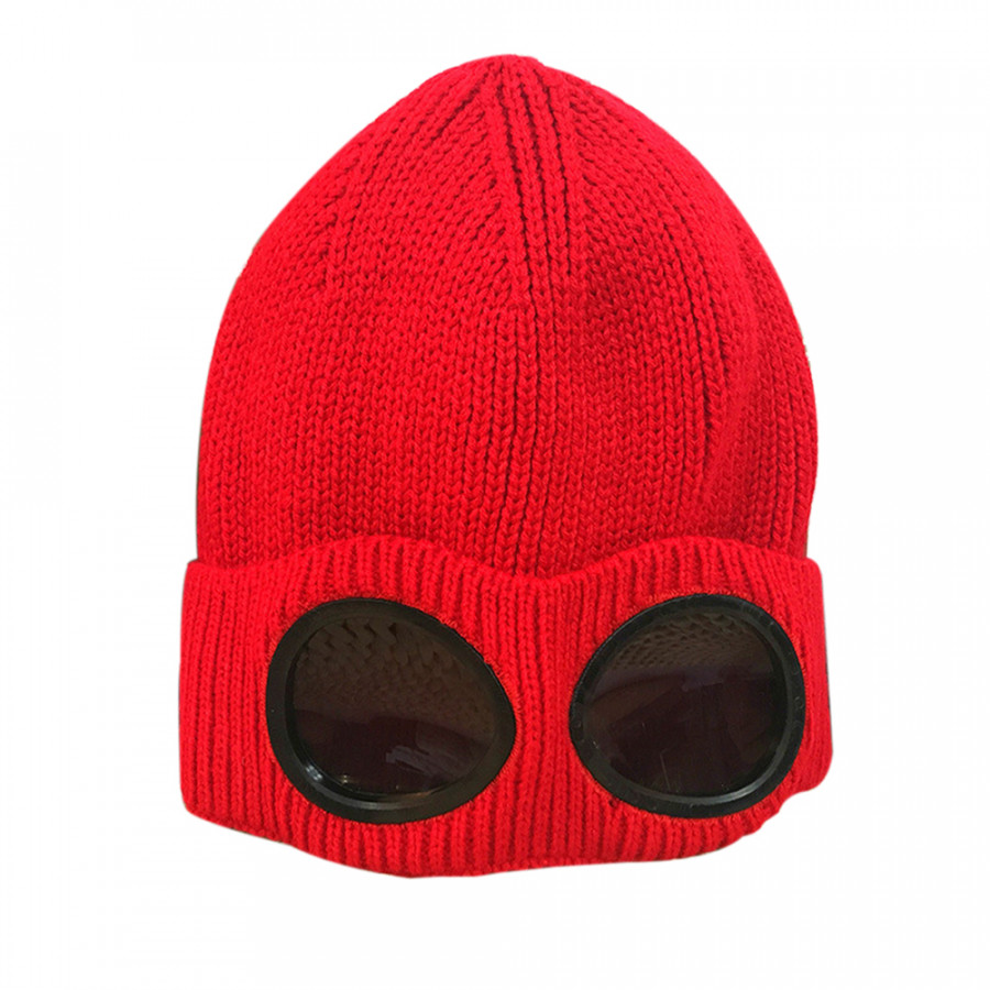 Winter Knitted Skull Hat Thickened Warm Stretchy Beanie Ski Cap Removable Glasses Plush Lining Double-Use For Men Women - Red