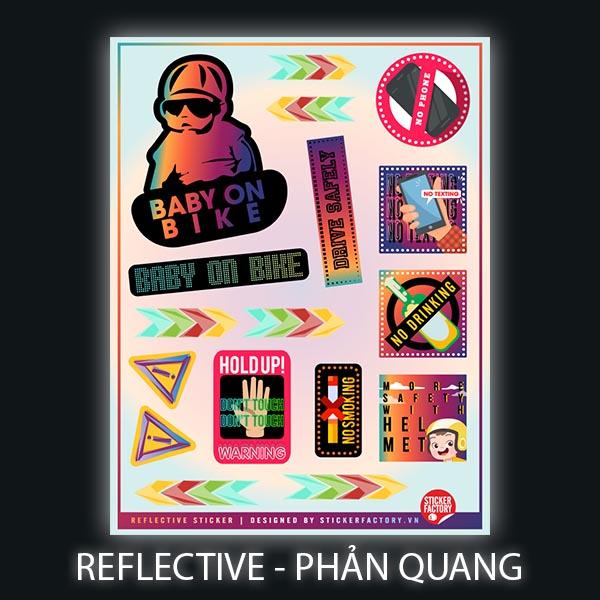 Baby on Bike - Reflective Sticker hình dán phản quang 3M Premium