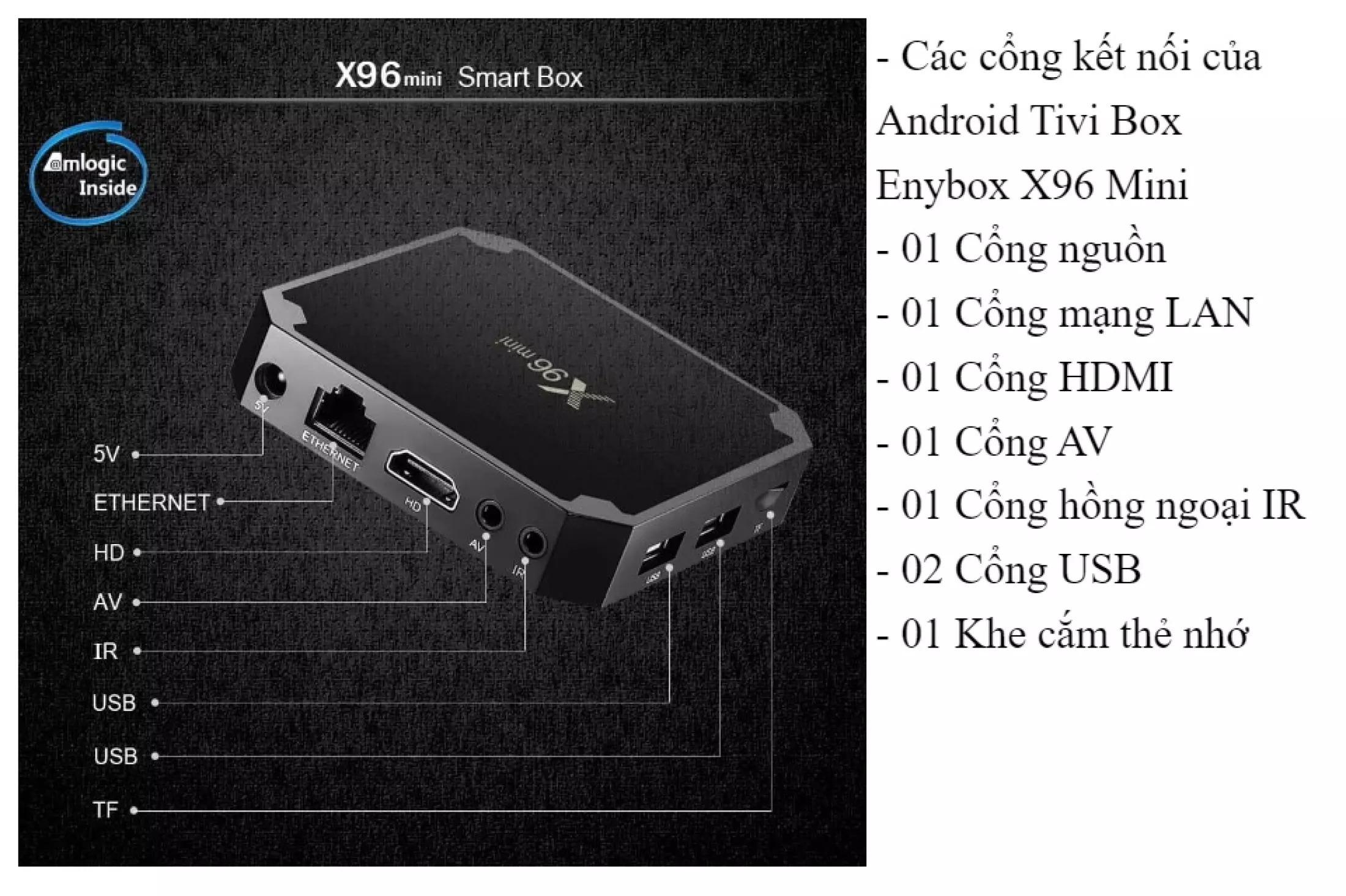 Android tivi box x96 mini mới có điều khiển cử chỉ và giọng nói tiếng việt Ram 2G Rom 16G cài sẵn các ứng dụng giải trí