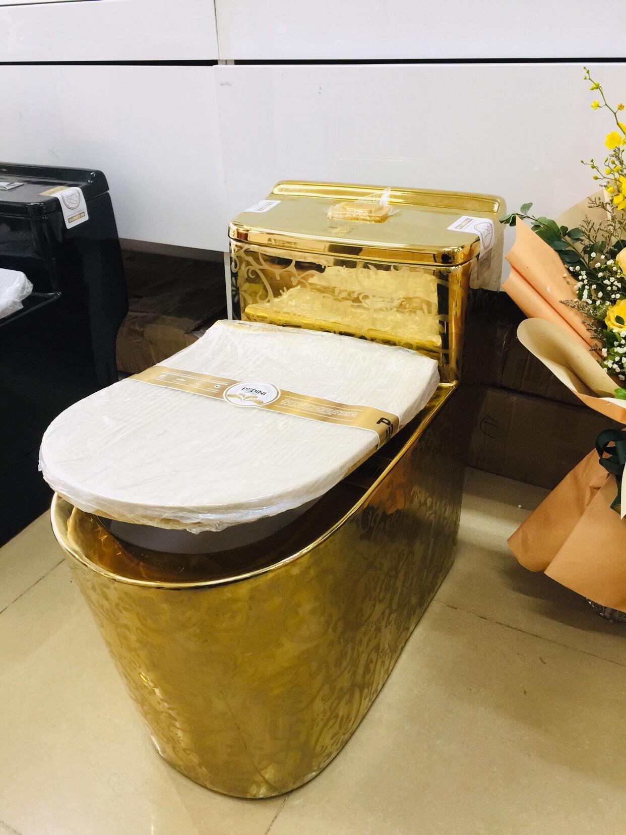 Bồn cầu màu vàng Hoàng Gia họa tiết chìm CHINOX