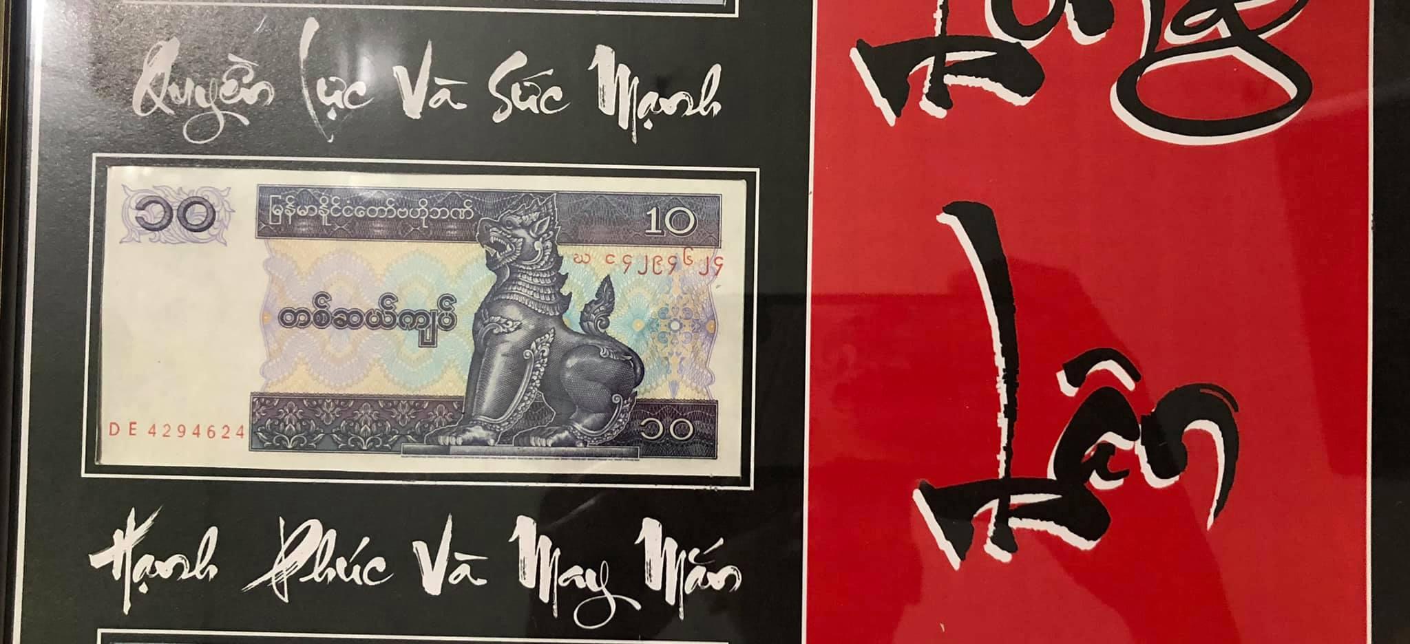 Tranh Long Lân Quy Phụng ghép tiền xưa của các nước, nền đen đỏ
