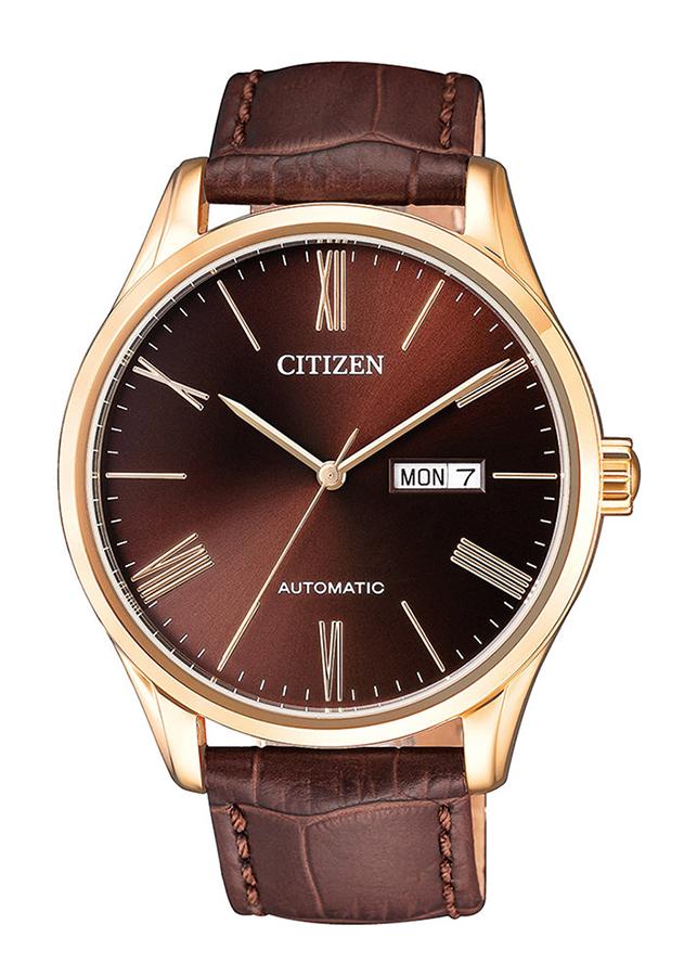 Đồng hồ Nam Citizen dây da Automatic (Tự Động) kính cứng NH8363-14X