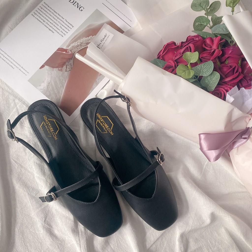 Giày búp bê big size hở gót mũi vuông xinh xắn Himi195  Himistore