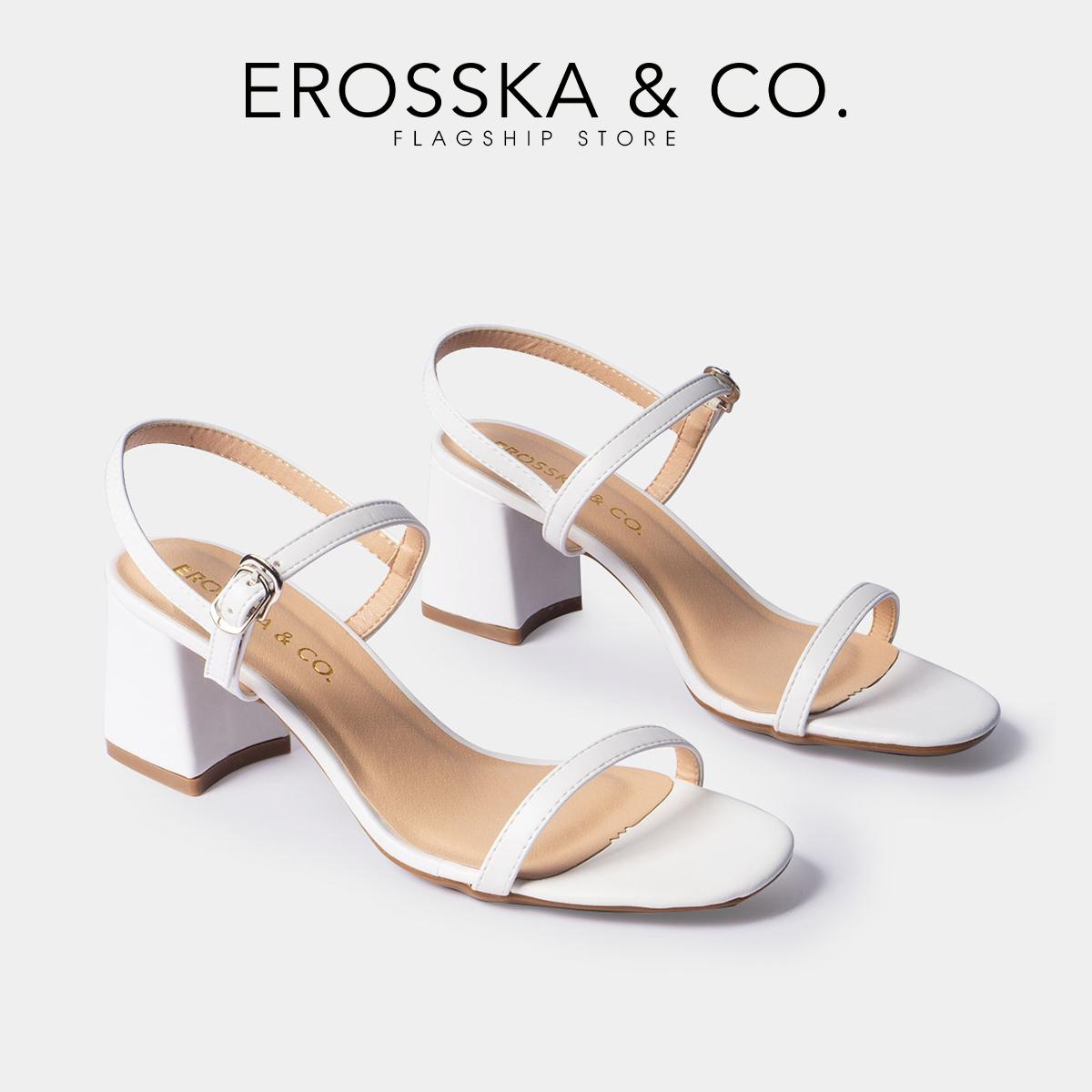 Giày Nữ Cao Gót Vuông Block Heels Erosska Quai Mảnh Tinh Tế Cao 7cm EM019 Màu Trắng  - size - 39