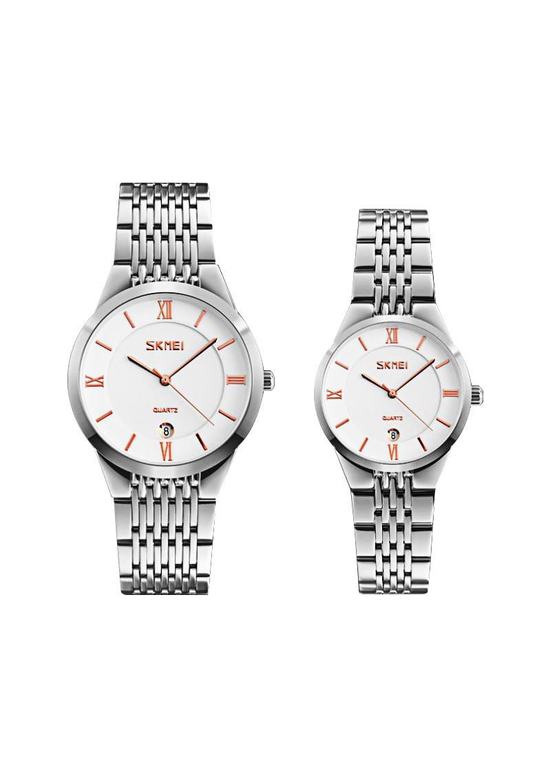 Đồng hồ đôi thời trang nam nữ SKMEI SK9139 (Phụ kiện thời trang) fullbox, chống nước - Mặt kính Mineral, dây đeo hợp kim sang trọng, bền bỉ