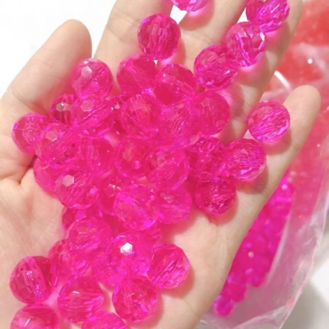 Hạt nhựa làm rèm có lỗ sâu nhiều màu đẹp 12mm gói 100gr