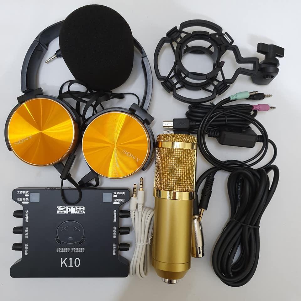 Combo Bộ Míc Thu Âm Livestream Hát Karaoke Online Micro BM-900+ CARD K10+ dây live MA2+Tặng Tai 450