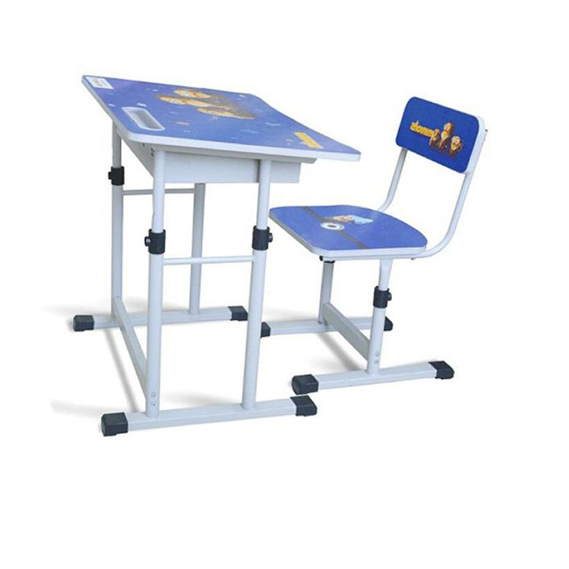 Bàn học sinh mẫu giáo nhỏ gọn cho bé trai có ngăn bàn màu xanh