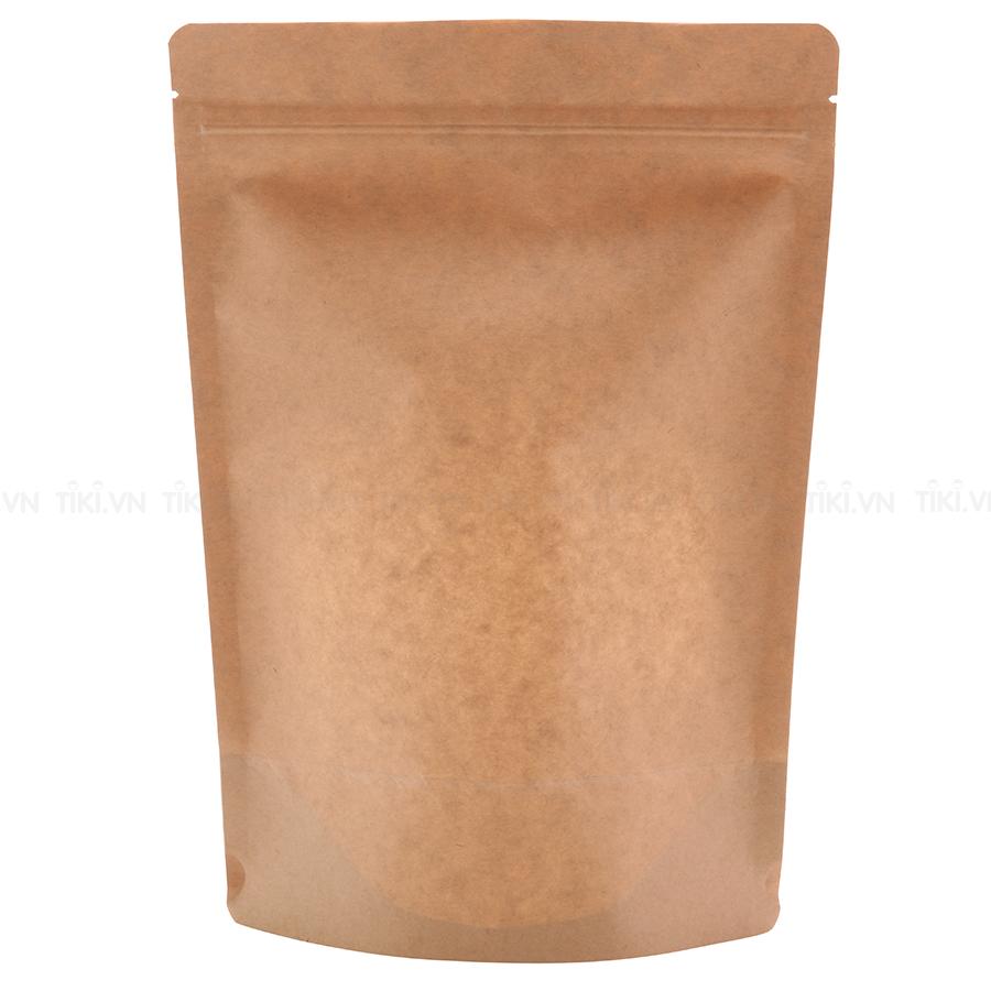 1 Kg túi giấy Kraft nâu zipper có cửa sổ 12x17cm