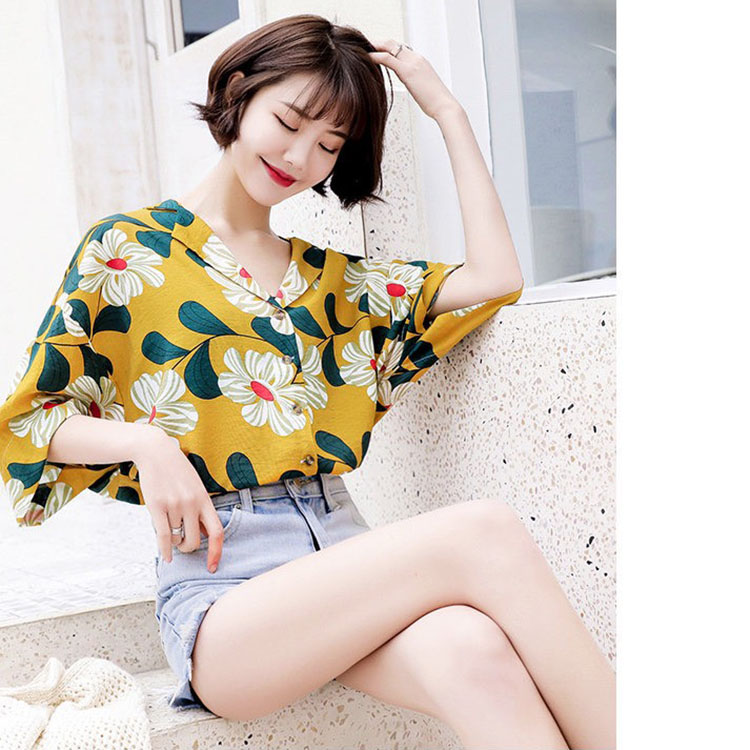 Áo kiểu nữ cổ 2 ve in hoa hướng dương tay lỡ xinh xăn, thời trang xuân hè 2021