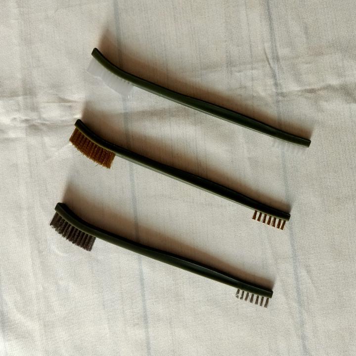 Bộ 3 bàn chải Cọ dây đồng, Cọ dây thép, Cọ dây nilon