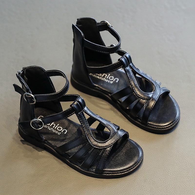 Sandal chiến binh bé gái dòng cổ thấp thiết kế hiện đại màu đen dễ phối da mềm cho bé 3 - 12 tuổi SG55