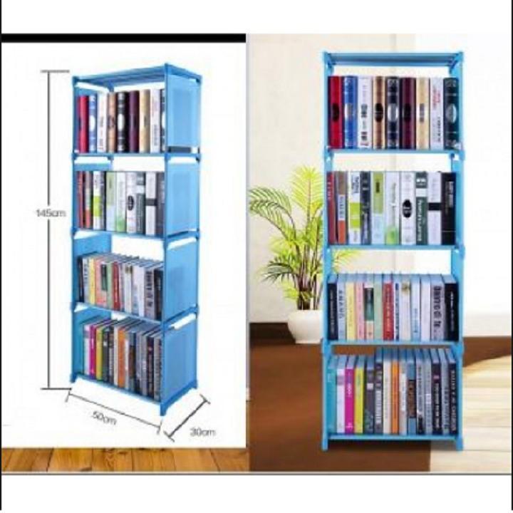 Kệ sách 4 tầng lắp ghép - màu xanh dương