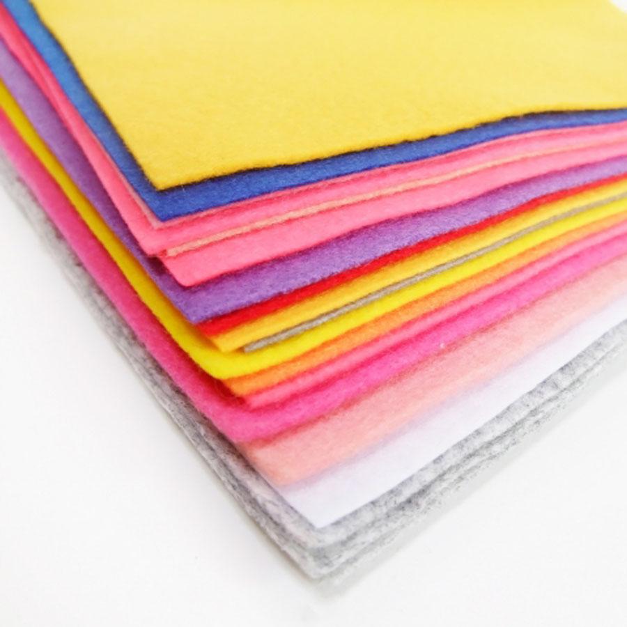 Set 12 tấm vải nỉ mềm 45X45cm (vải không dệt / vải dạ / soft felt) làm đồ handmade, craft, thủ công (12 màu khác nhau)