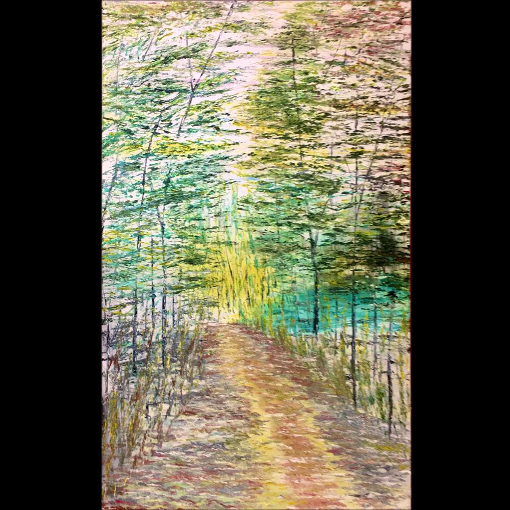 Tranh sơn dầu sáng tác vẽ tay: Rừng Su