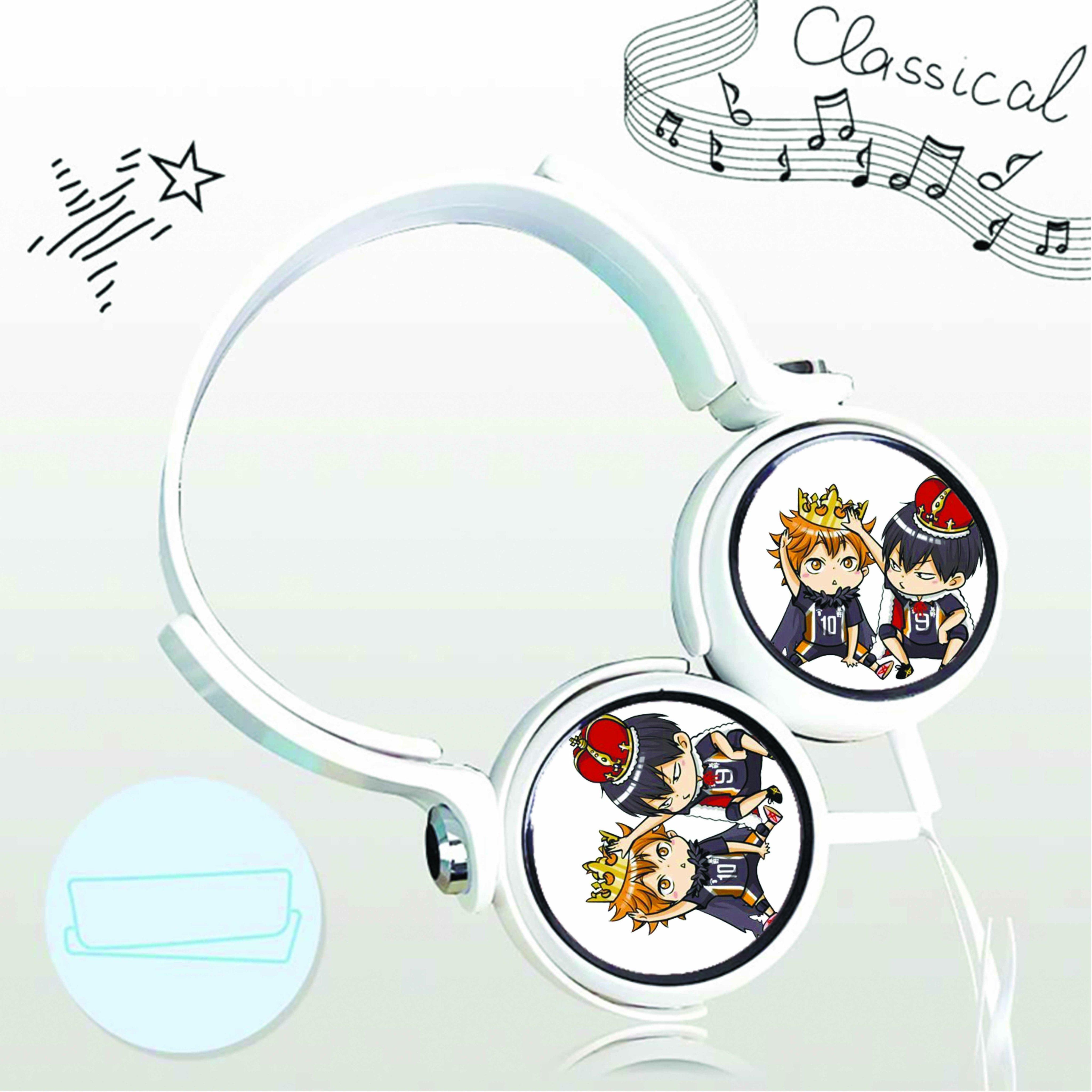 Tai nghe chụp in hình Haikyuu! Vua Bóng Chuyền anime chibi cắm dây có mic