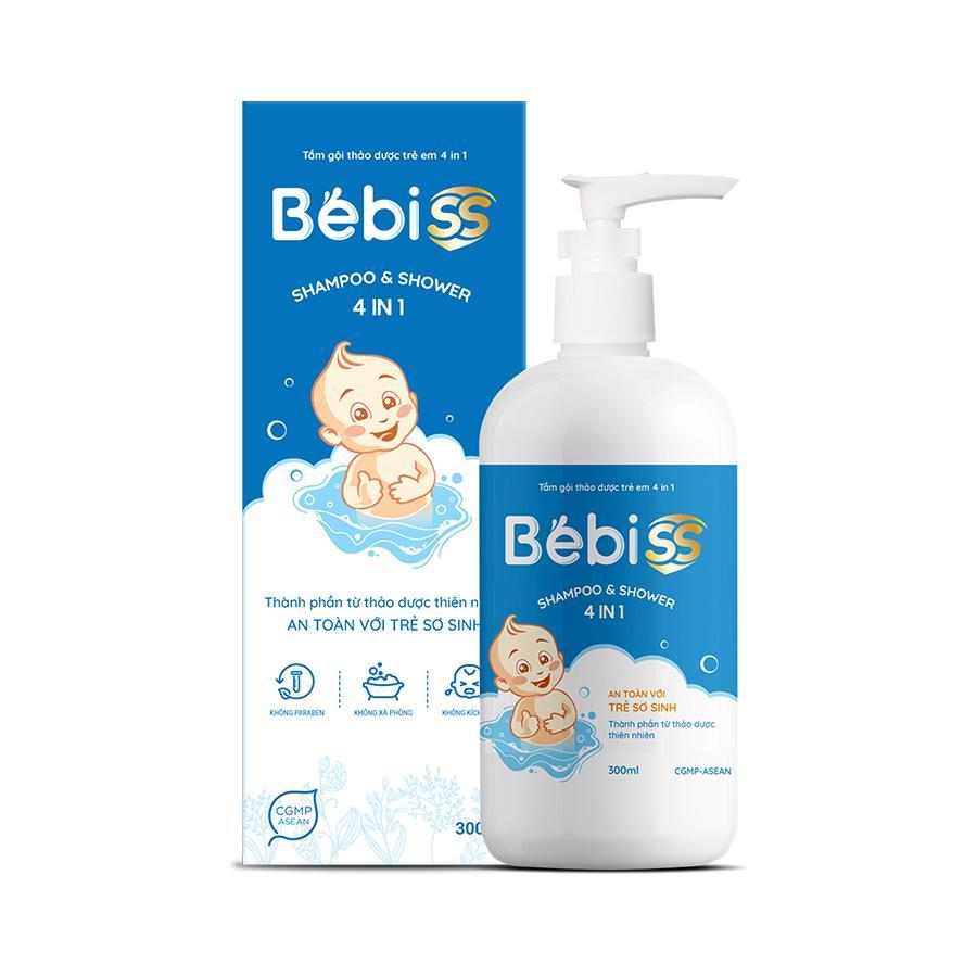 TẮM GỘI THẢO DƯỢC TRẺ EM 4 IN 1 BEBISS - Hỗ trợ kháng khuẩn, phòng chống  rôm sảy, mụn nhọt, kê sữa, chàm sữa, hăm tã - Chai 300ml | Tiki