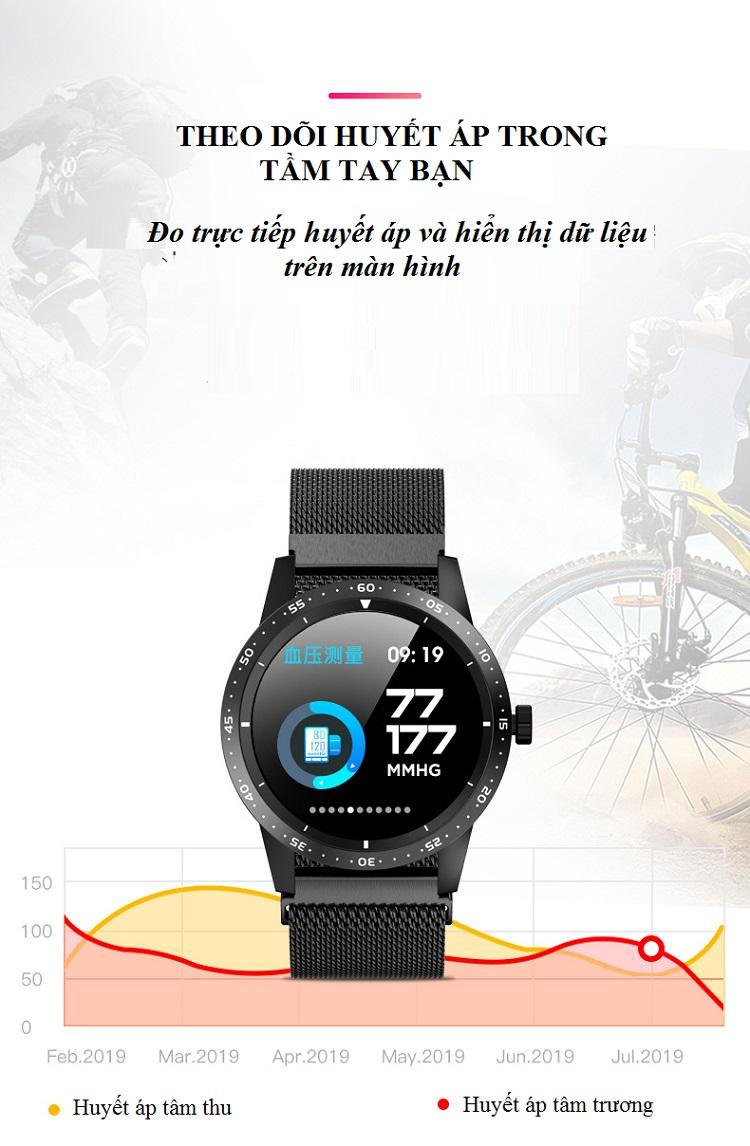 Đồng hồ thông minh đo nhịp tim, huyết áp T5 ( Sang trọng, độc đáo ) - Hàng Nhập Khẩu- Dây silicone nâu
