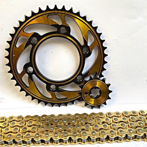 Nhông sên dĩa exciter 150, ex 150, màu vàng mẫu xéo