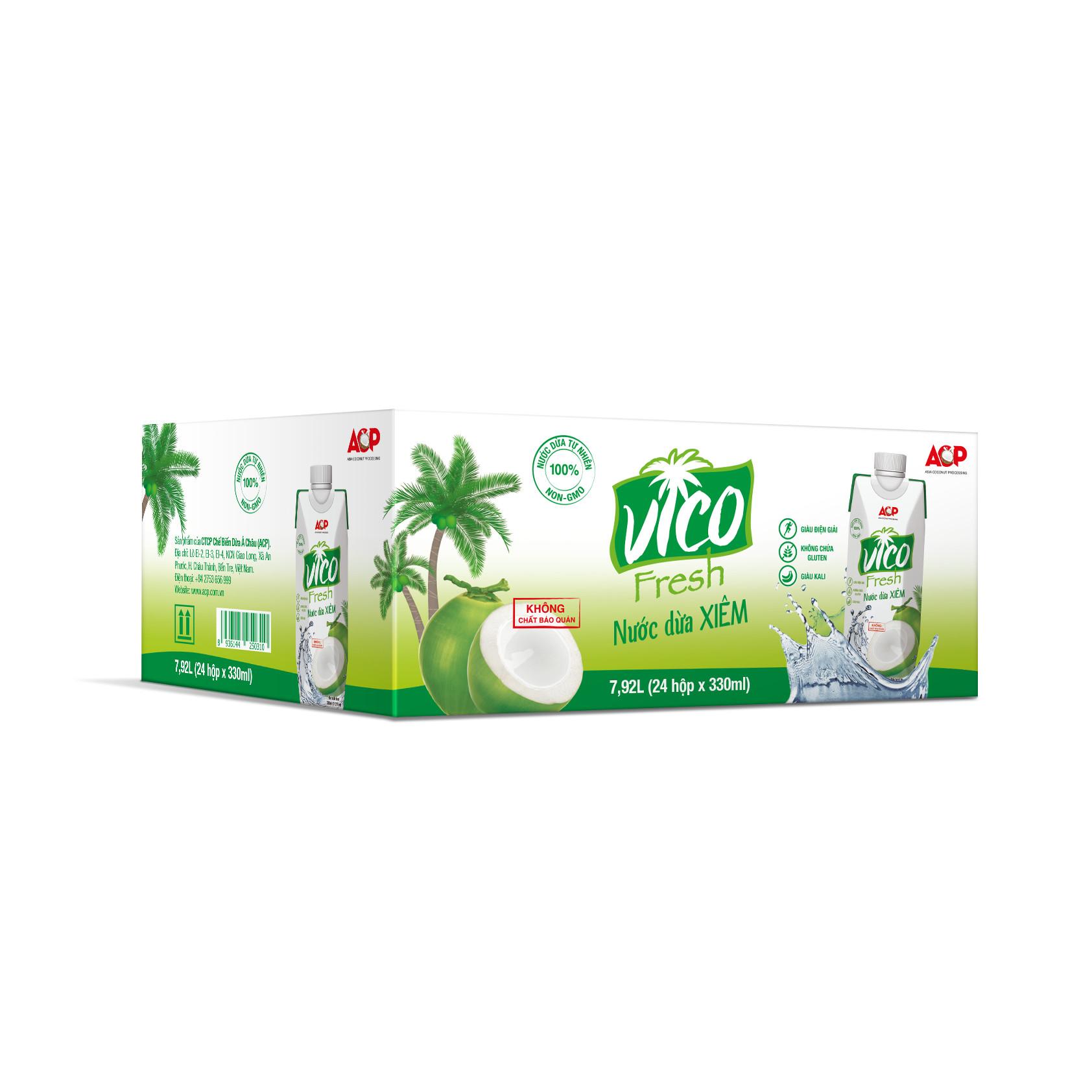 Thùng 24 hộp Nước dừa xiêm VICO FRESH 330ml  hộp