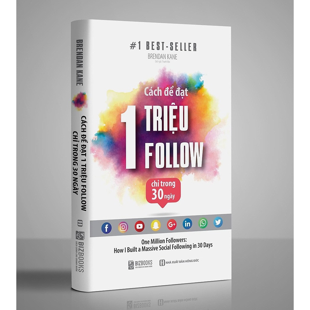 Cách Để Đạt 1 Triệu Follow Chỉ Trong 30 Ngày(tác giả Brendan Kane) - One Million Followers là cuốn sách hướng dẫn cách tận dụng những nền tảng truyền thông xã hội như Facebook, Instagram, Youtube Tặng Kèm PostCard Những Câu Nói Của Người Nổi Tiếng