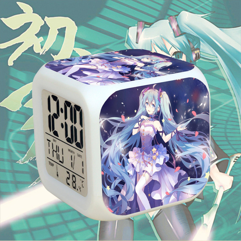 Đồng hồ báo thức để bàn in hình MIKU HATSUNE VOCALOID đèn LED đổi màu anime chibi xinh xắn (MẪU GIAO NGẪU NHIÊN)