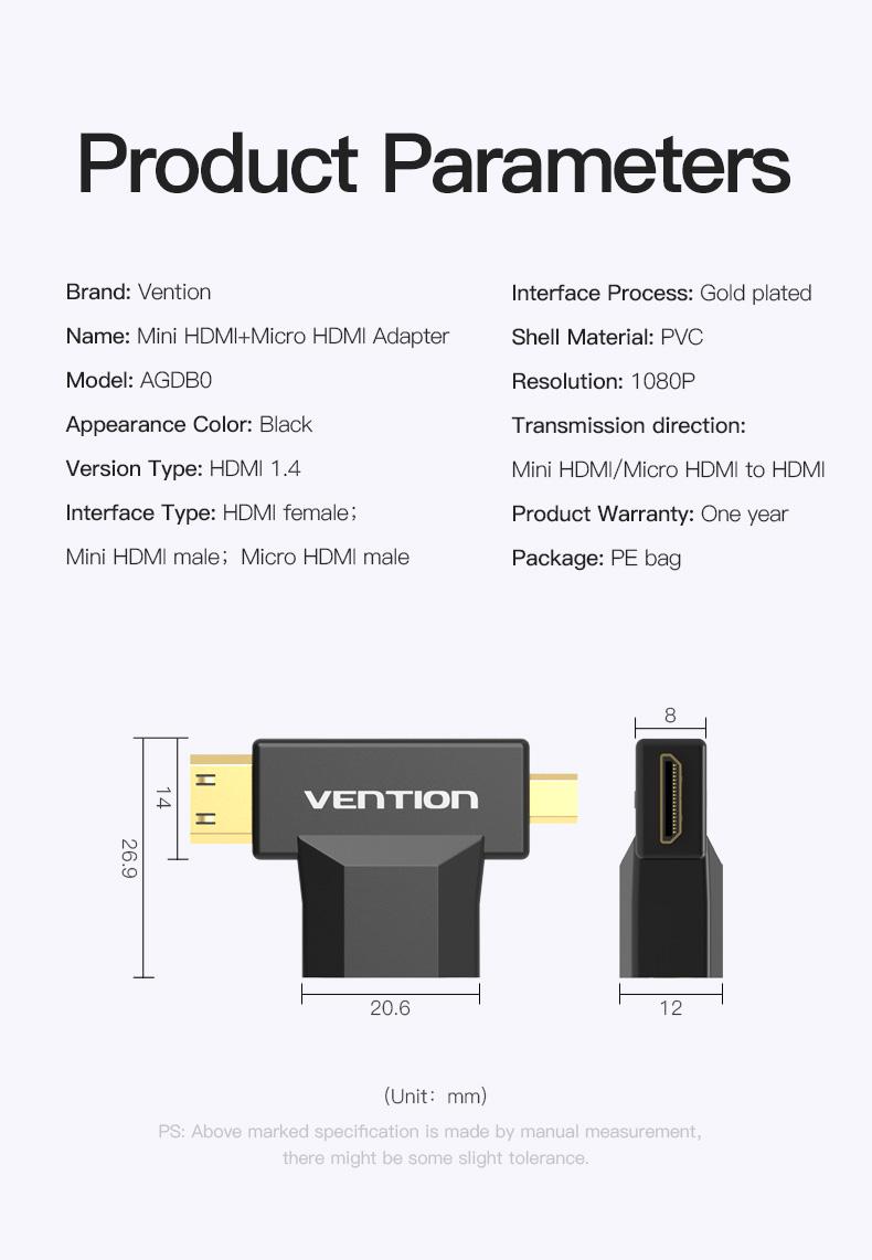 Đầu chuyển đổi Mini HDMI + Micro HDMI to HDMI Vention AGDB0 - Hàng Chính Hãng