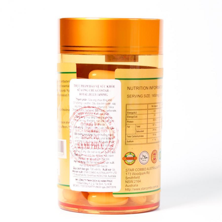 Thực phẩm chức năng Sữa Ong Chúa Costar Royal Jelly Soft Gel Capsules 1450mg (100 viên)