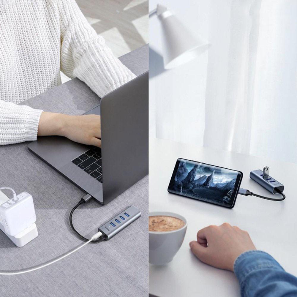Hub cho Smartphone/ Table/ Laptop/ Macbook (Chuyển nhanh PD/5.0 Mbps) - Hub chuyển cổng Type C to 4 Port USB 3.0 + Type C Power Delivery - Baseus Enjoy Series - Hàng Chính Hãng