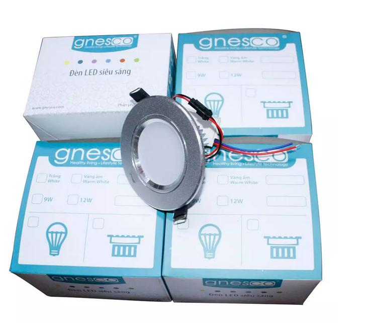 Bộ 4 cái đèn LED âm trần tán quang tiết kiệm điện Gnesco 5W (Vàng nhạt)