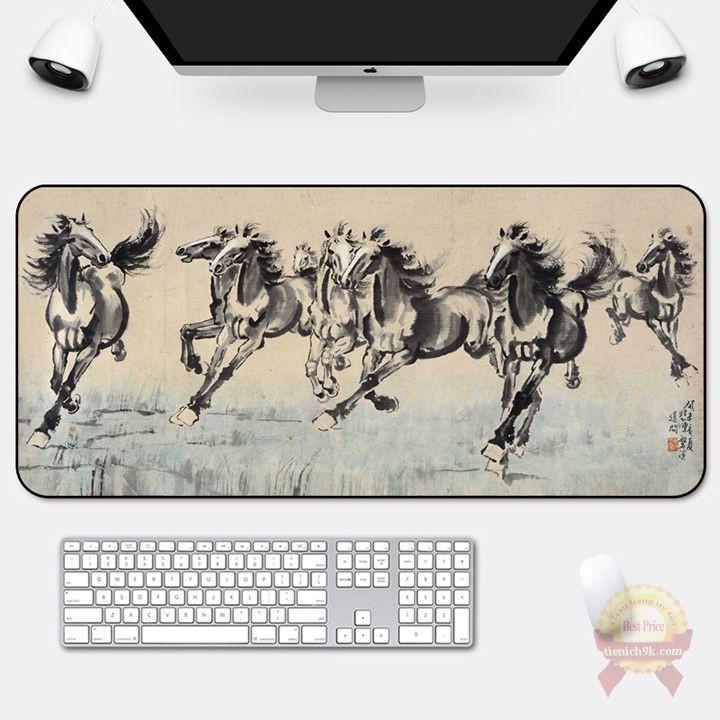 Lót chuột cỡ lớn 800x300mm bàn di vải mịn bo viền hình ngựa phi đen trắng chắc chắn