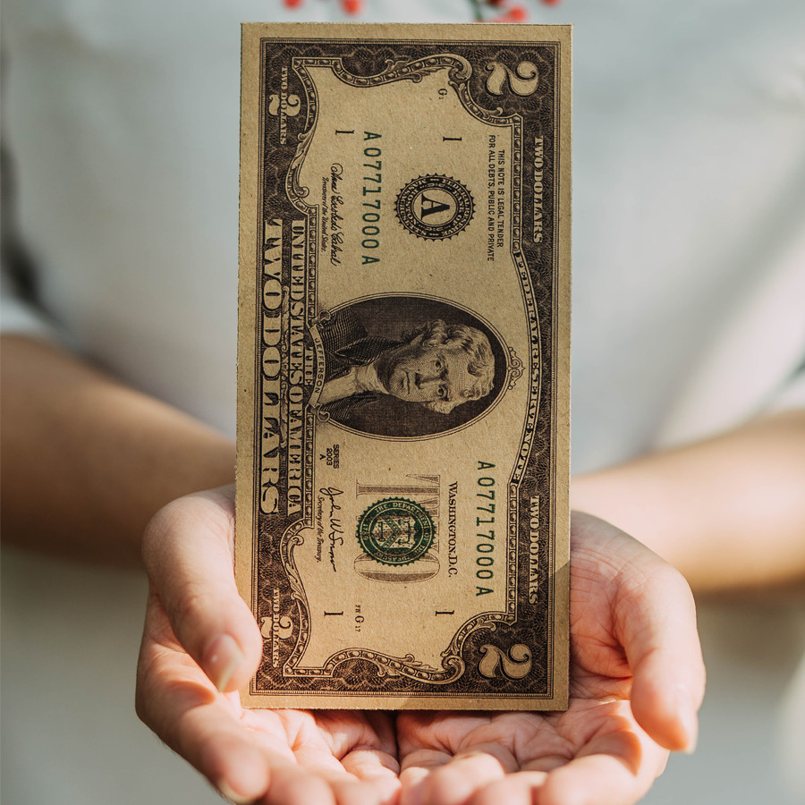 Set 10 Bao Lì Xì Hình Tờ 2 Đô La Mỹ