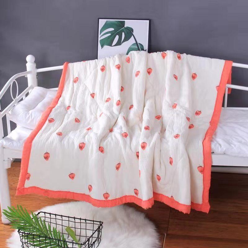 Chăn xô trần bông bo viền kích thước 120x140cm cho bé