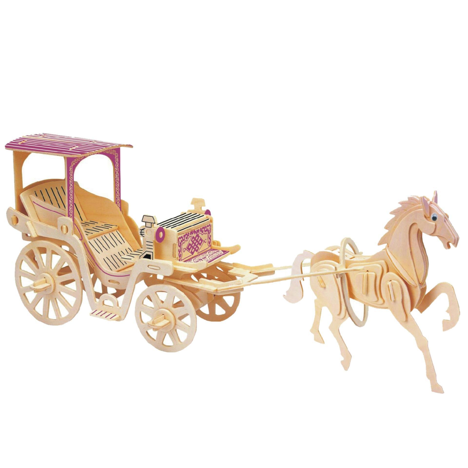 Đồ chơi lắp ráp gỗ 3D Mô hình Xe ngựa Hoàng gia 2